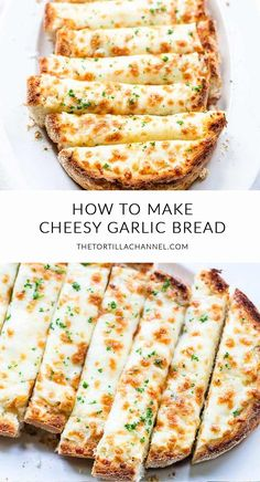 Cheesy garlic bread made with garlic butter, parmesan and mozzarella 🍴. Visit thetortillachanne… for the full recipe 🍞 - Easy Cheesy Garlic Bread [the best bread] - The Tortilla Channel Baking Recipes, Garlic Recipes, Best Food Recipes, Healthy Recipes, Grilled Cheese Recipes, Easy To Cook Recipes, Simple Cooking Recipes, Potato Recipes, Simple Easy Dinner Recipes