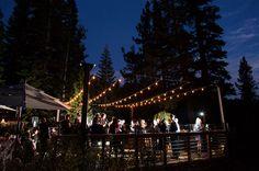 Sugar Bowl Resort Wedding reception photos of the  dance floor at Lake Mary. By Doug Miranda Photography.