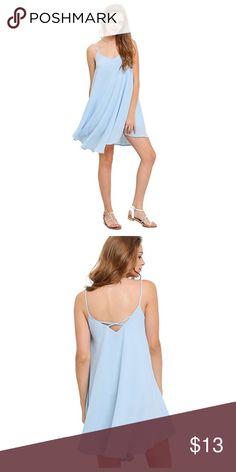 Summer Dress Light Blue Summer Dress with Criss Cross Back Never Worn Dresses