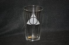 Harry Potter Deathly Hallows Symbol Custom Etched Pint Glass