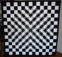 Optical Illusion - all straight lines 3d Quilts, Panel Quilts, Quilt Blocks, Optical Illusion Quilts, 3d Optical Illusions, Black And White Quilts, Pattern Images, Quilt Top, Op Art