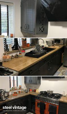 Discover the Workshop Kitchen Range by Steel Vintage. Kitchen Decor, Kitchen Design, Kitchen Ideas, Vintage Kitchen Cabinets, Diy Welding, Solid Doors, Bespoke Kitchens, Kitchen Units, Cupboard Doors