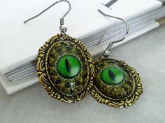 Dragon Eye Earrings by ApplebiteJewelry Gothic Earrings, Gothic Jewelry, Dangle Earrings, Jewelry Tattoo, Dragon Eye, Green Eyes, Dangles, Fantasy, Tattoos