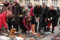 In Pictures: Activists Get Creative at Paris Climate Change Conference: Demonstrators set up shoes on the Place de la République in Paris