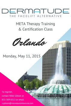 Our next #MetaTherapy training class will be in #Orlando on May 11th. Contact Nikki to register! #Dermatude