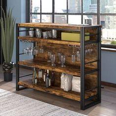 Wade Logan® Isabell Bar with Wine Storage & Reviews | Wayfair Wine Bar Cabinet, Wine Cabinets, Rustic Bar Cabinet, Rustic Bar Carts, Bar Cabinets For Home, Bar Hutch, Corner Bar, Mini Bars, Home Bar Designs