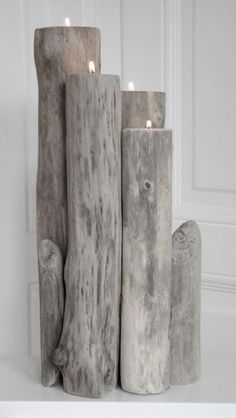 driftwood beach style accessories...drill the hole with that cool drill bit in the garage ...will be doing this!