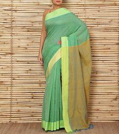 Amodha Forest Green Body Neon Green Border Mustard Pallu