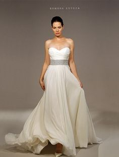 Sweetheart A-Line Wedding Dress  with Natural Waist in Silk Chiffon. Bridal Gown Style Number:32347718