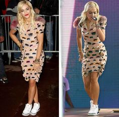 Rita Ora wearing Air Jordan III 3 Cement