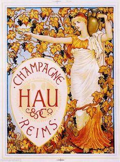 1900's French Champagne Hau Reims Food & Wine Advertisement Art Poster Print #ArtNouveau