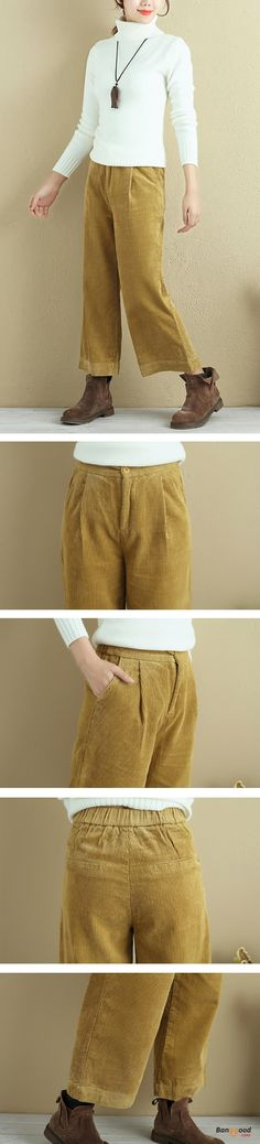 US$46.59 + Free shipping. Size: M~3XL. Color: Black, Gray, Khaki, Pink, White, Yellow. Fall in love with casual and elegant style! Plus Size Casual Pocket Corduroy Wide Leg Pants.