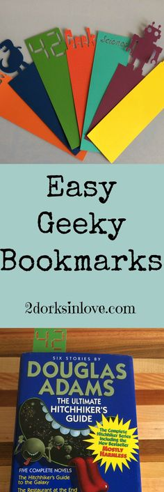 These geeky bookmarks are SO easy to make with a Cricut machine!  via @2dorksinlove Crafts For Teens To Make, Easy Arts And Crafts, Arts And Crafts Projects, Crafts To Make, Diy Crafts, Cricut Tutorials, Cricut Ideas, Cricut Craft, Crafty Craft