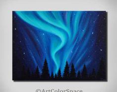 ORIGINAL Watercolor painting Starry night Wall by RebusArtStudio