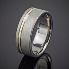 Men's Gold Pinstripe Flanked Wedding Band in Titanium made by Spexton.com