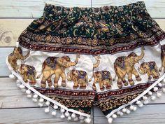 Pom pom Shorts Elephants Boho Print Summer by TribalSpiritShop