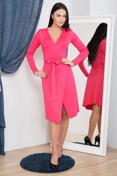 Pentru mai multe detalii vizitati pagina produsului. Rochii 1 Dresses For Work, Dresses With Sleeves, Mai, Wrap Dress, Long Sleeve, Fashion, Moda, Sleeve Dresses, Long Dress Patterns
