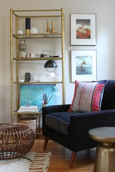 Blogger Home Tour /// House Of Hipsters /// Family Room with a Mid Century Modern and Bohemian style and look. Click thru to read more.