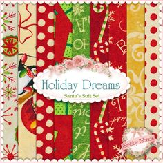 Holiday Dreams Santa's Suit 9 FQ Set By Debra Grogan For RJR Fabrics: Holiday Dreams is a collection by Debra Grogan for RJR Fabrics. This set contains 9 fat quarters, each measuring approximately x Santa Suits, Shabby Fabrics, Christmas Fabric, Fabulous Fabrics, Fat Quarters, Journal Ideas, Applique, Give It To Me, Quilting