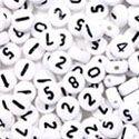 Plastic White Rnd Number Mix 7mm, 66 grams
