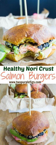 Nori Crust Asian Salmon Burgers. This is a really quick, easy, super healthy , super flavorful salmon burger! Loaded with garlic, ginger, cilantro, wasabi and crusted with sesame and nori. Get the recipe for the BEST salmon burger out there! www.twopurplefigs.com