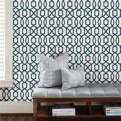 Navy Grand Trellis Peel And Stick Wallpaper