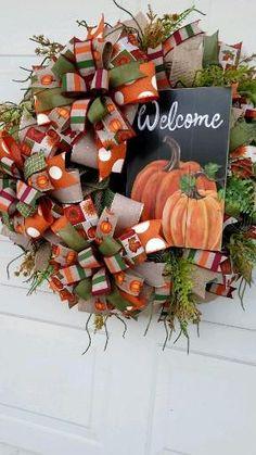 Fall Deco Mesh, Welcome Fall, Fall Harvest, Wreaths, Halloween, Home Decor, Autumn Harvest, Decoration Home, Door Wreaths