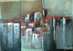 Un pugno di case mixed on juta cm Luigi Torre painter 2015 Luigi, Abstract, Artwork, Flowers, Diy, Houses, Paintings, Collage, Pintura