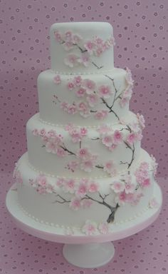 Cake with cherry blossom design (Cake Fondant) Cherry Blossoms . Cake with cherry blossom design Fondant Wedding Cakes, Floral Wedding Cakes, Wedding Cake Designs, Fondant Cakes, Cupcake Cakes, Cherry Blossom Cake, Cherry Blossom Wedding, Cherry Blossoms, Beautiful Cakes
