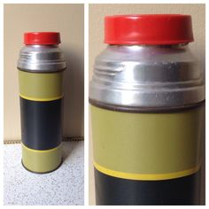 Fifties striped vintage Aladdin thermos olive by SpaceModyssey