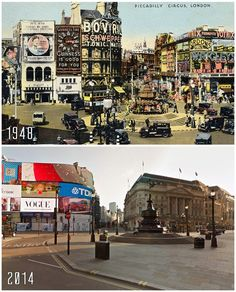10 British Cities, Then And Now Then And Now Pictures, Piccadilly Circus, Cities, London History, England And Scotland, British Monarchy, Britain, United Kingdom, Community