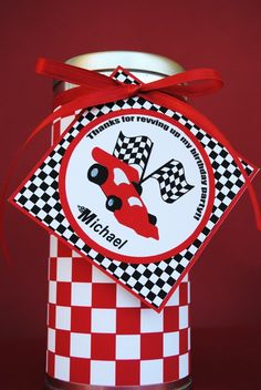 PRINTABLE Thank You Tags Black/Red Race Car by GwynnWassonDesigns