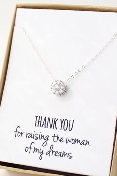 Solitaire Necklace - Cubic Zirconia Necklace - CZ Diamond Necklace - Mother In Law Gift Circle Thank you for raising the woman of my dreams