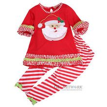 New Kids Baby Girl Santa Christmas T-shirt Dress + Leggings Pants Costume Outfit Set Xmas Gift Wholesale(China (Mainland))