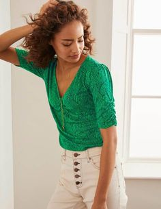 Jane Jersey Top - Rich Emerald, Tropical Leaf