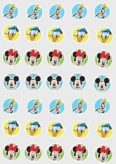 Uau! Veja o que temos para Toppers para doces Mickey e sua Turma