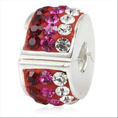 Pink and Clear CZ Clip Authentic Sterling Silver Solid Core Charm