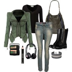 Biker outfit.. Love the jacket!