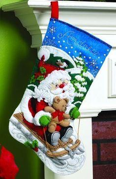 Santa's Sled Christmas Stocking - Felt Applique Kit