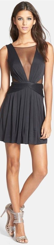 black v-neck dress @roressclothes closet ideas women fashion outfit clothing style