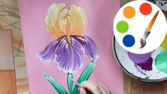 Easy way to paint the Iris flower by a round brush - YouTube