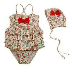 Vivo-biniya Baby Girl's 2pcs/swimsuits One-piece Swimwear and Cap Flower 4-9t (4T) Vivo-biniya,http://www.amazon.com/dp/B00HN1627E/ref=cm_sw_r_pi_dp_3kudtb00HHMB13BS