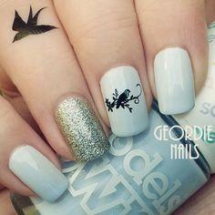 Bird Manicure with Tattoo by Geordie Nails xx