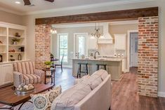 4 Bed Exclusive French Country House Plan with Rear-Access Garage - thumb - 08 French Country House, House, Home, Brick Columns, House Interior, Home Renovation, French Country Living Room, Great Rooms, French Country Kitchens