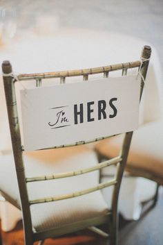 """I'm hers,"" and it would be perfect to do a simple, ""I'm his"" on hers as well. :) Simple, sweet."