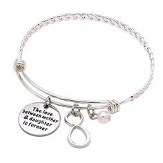 Melix Stainless Steel Mother Daughter Bangle Bracelet Adjustable Gift For Mom From Daughter -- Want to know more, click on the image.