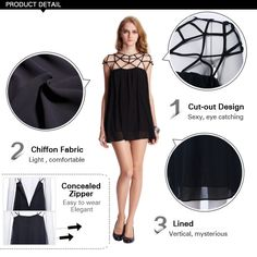 Cut Out Upper Black Dress -- Product Details