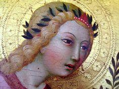 """Sano di Pietro, """"The Annunciation Angel, (detail), Avignon, Musée du Petit Palais"""