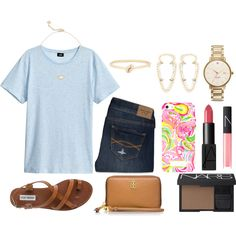 day 23 by okieprep on Polyvore featuring H&M, Abercrombie & Fitch, Steve Madden, Kate Spade, Kendra Scott, Tory Burch and NARS Cosmetics