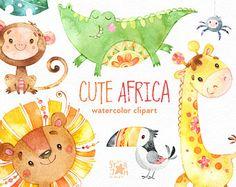 África lindo. Acuarela animales Imágenes Prediseñadas, León, jirafa, cocodrilo, mono, pájaro, piña, saludo, invitación, selva, floral, hojas, bebé